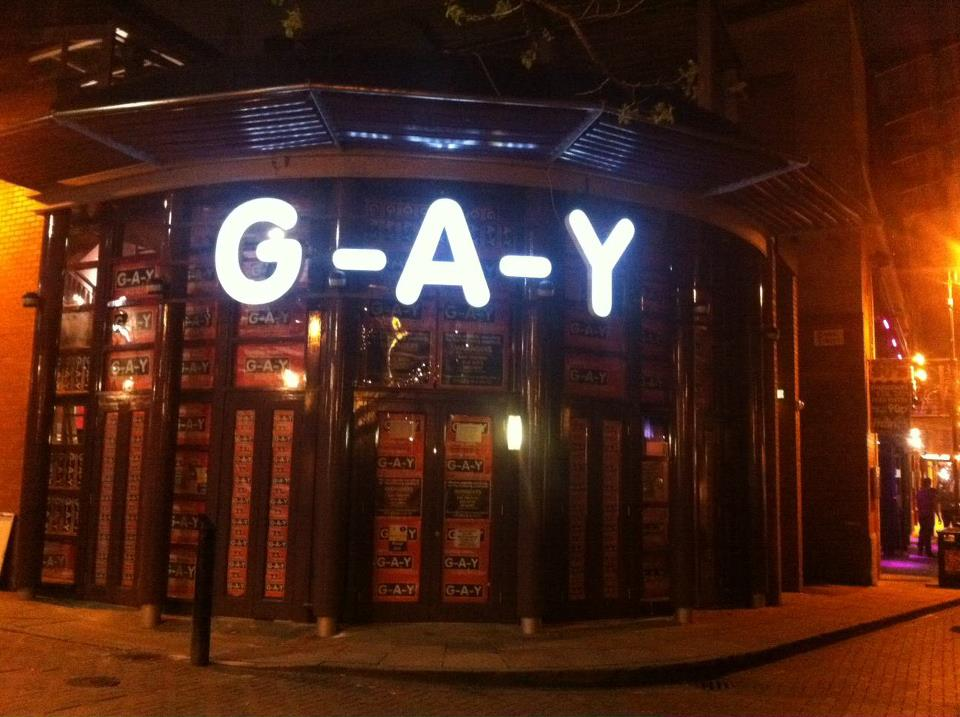 To a gay bar